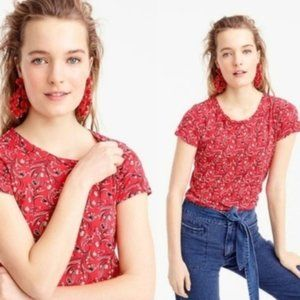 J Crew Red Vintage Cotton Bandana Shirt